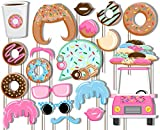 Donut Shoppe Photo Booth Props Kit - 20 Pack Party Camera Props Fully Assembled