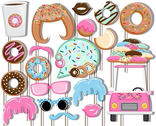 Donut Shoppe Photo Booth Props Kit - 20 Pack Party Camera Props Fully Assembled ()