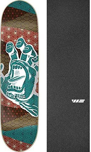 "Santa Cruz Skateboards Monyo Hand Skateboard Deck - 8.25"" x 32"" with Jessup WS Die-Cut Black Griptape - Bundle of 2 Items"