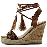 Ollio Womens Shoe Ethnic Tribal Ankle Strap Platfrom Wedge High Heel Sandals