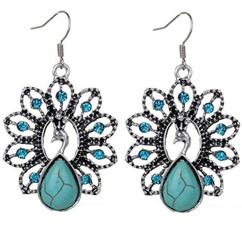 Titanium Rings Carved (DDLBiz Women Elegant Bohemian Retro Turquoise Earrings Delicate Carved Jewelry (D))