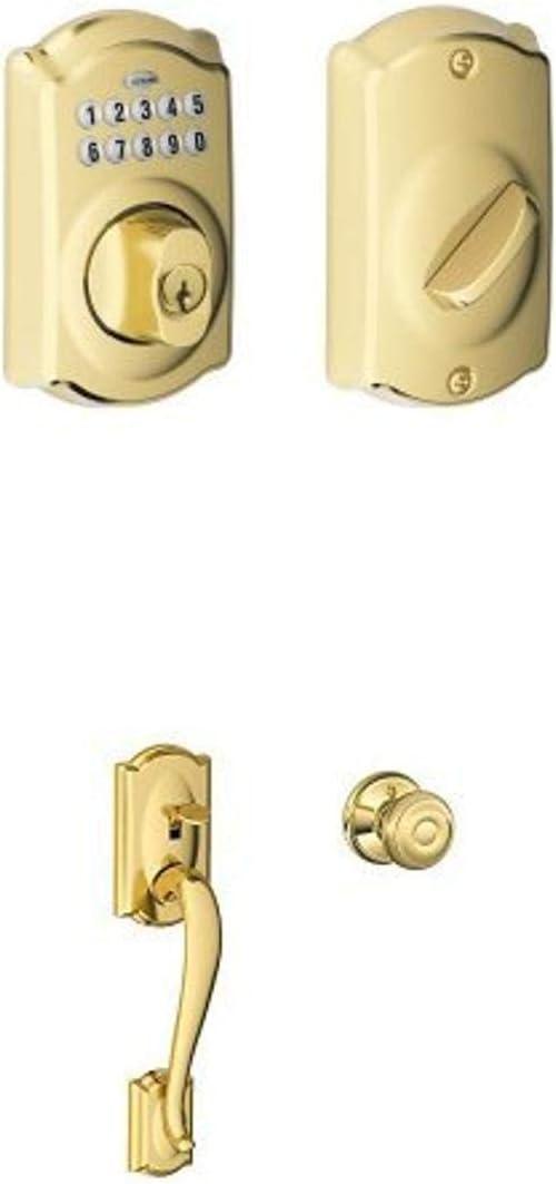 Schlage BE365 CAM 505 Camelot Keypad Deadbolt + Handleset, Bright Brass