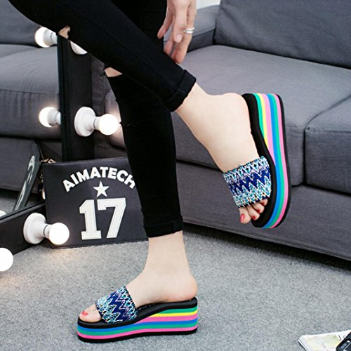 Outdoor Flip Banstore Beach Shoes Style Sandals flops Women Indoor Blue Summer National wFxSqXOnYU