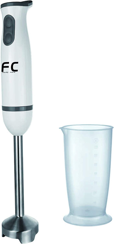 Family Care Batidora de mano, Eje y cuchillas de acero inoxidable, vaso medidor, 2 Velocidades con Turbo, 350 W, color blanco: Amazon.es: Hogar