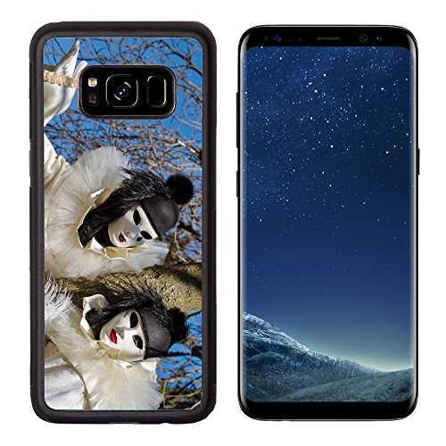 Luxlady Premium Samsung Galaxy S8 Aluminum Backplate Bumper Snap Case IMAGE ID: 26981573 Black and white Pierrot couple at the 2014 Annecy venetian carnival France (White Pierrot Costume)