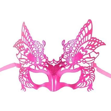 Gleader Mascara de Plastico Diseno de Aguila para Fiesta de Disfraces - Fucsia