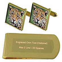 Jaguar Cat Gold-tone Cufflinks Money Clip Engraved Gift Set