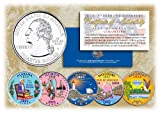 2003 US Statehood Quarters COLORIZED Legal Tender 5-Coin Complete Set w/Capsules