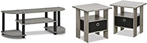 Furinno Turn-S-Tube TV Entertainment Center, French Oak Grey & Andrey End Table Nightstand Set, 2-Pack, French Oak Grey