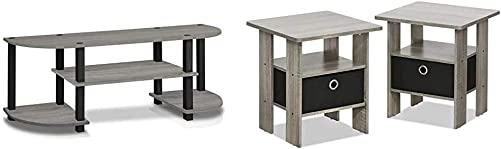 Furinno Turn-S-Tube TV Entertainment Center, French Oak Grey Andrey End Table Nightstand Set, 2-Pack, French Oak Grey