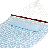 Best Choice Products Quilted Double Hammock w/Detachable Pillow, Spreader Bar - Sky Blue and Palm Trees