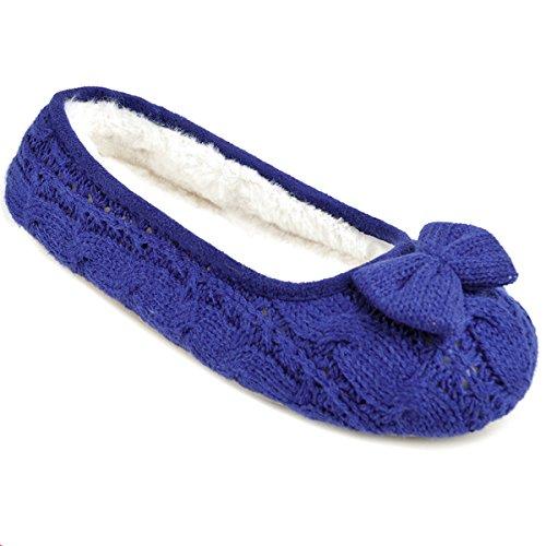 Slumberz da donna a maglia Bow Ballet pantofole, blu navy, taglia UK 5/6