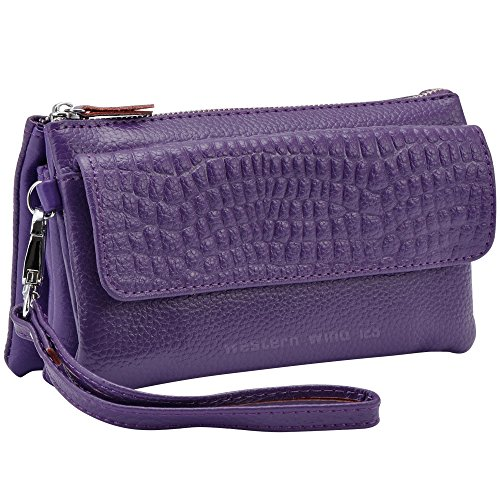 Plus Fit Wocharm Leather 7 6 Wristlet Wallet Soft Strap Women's handbags Leather Purple Capacity Large IPhone Strap Shoulder Wrist With Clutch qXxAqZTHrw