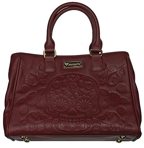 Loungefly-Sugar-Skull-Day-of-the-Dead-Vegan-Burgundy-Shoulder-Bag-Handbag-Purse