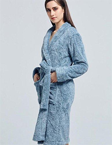 camicia della pigiami donne delle Camicia Risvolto flanella SUxian Blu dei Accappatoio da notte notte inverno di ispessito da Oqp8Aw4z