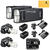 GODOX AD200 TTL 2.4G HSS 1/8000s 2Pcs Pocket Flash Light Double Head 200Ws with 2900mAh Lithium Battery Flashlight Flash Lightning+GODOX X1T-O TTL Flash Trigger Transmitter for Olympus
