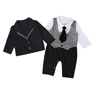 fa18bbbbd62d Fairy Baby Baby Boy s 2Pcs Gentleman Romper Wedding Formal Tuxedo Suit  Outfit Clothing Set Size 6