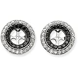 14k Gold Black and White Diamond Double Row Round Shape Removable Jackets for Stud Earrings - (2.00 ctw, White-Gold)
