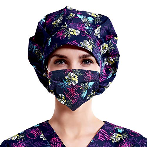 Mwfus Women Surgical Cap and Mask Set Scrub Caps Bouffant Hat Men