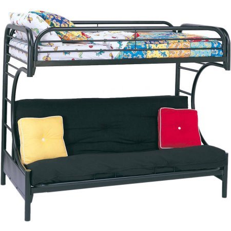 Sturdy Eclipse Twin Over Full Futon Bunk Bed,includes Guard rails,Easy to Assemble,in Multiple Colors - Bed Futon Bunk Black Metal