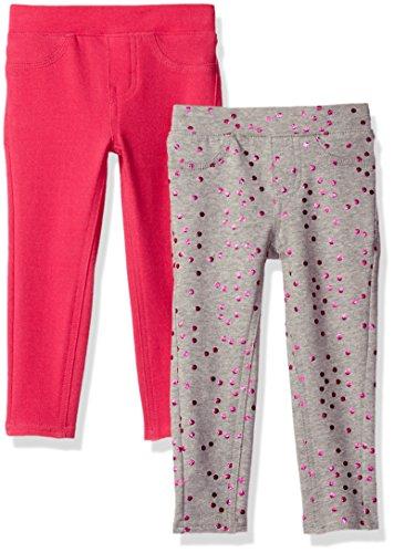 VIGOSS Girls' Little 2 Pack Leggings, Pillar Pink, 5