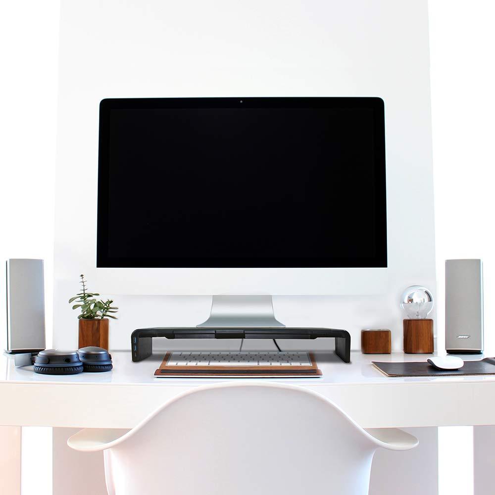 con Funcion de hub 47cm*20cm*8cm Amplia Pantalla Elevador para Monitor del Ordenador//Port/átil//TV//Impresora DIYOO Soporte Ajustable para Monitor Soporte Monitor PC Inteligente Negro