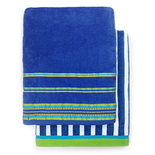 Oversized 40 X 70 Stripe and Solid Color Velour Super Soft Beach and Pool Towel Set of 2 Pieces Easy Care, Extra Large (Royal Blue)