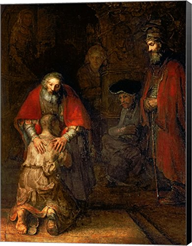(Return of The Prodigal Son, c.1668 by Rembrandt Van Rijn Canvas Art Wall Picture, Museum Wrapped with Black Sides, 44 x 57 inches)