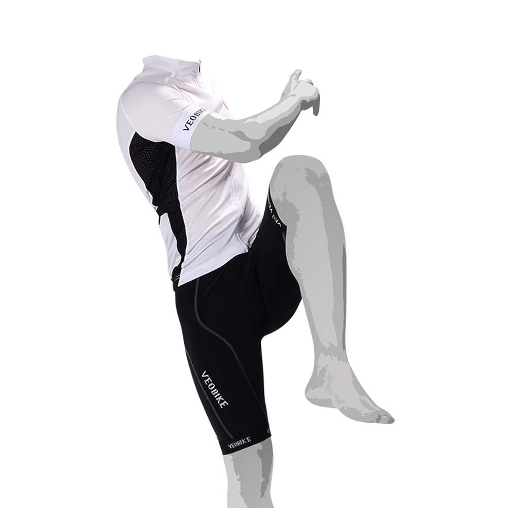 blanc XXL Lesrly-Cycle VêteHommests de Cyclisme pour Hommes à Manches Courtes pour l'été, Chemises de VTT à Fermeture à glissière complète et Pantalons de Course à vélo à séch