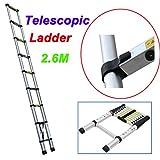 2.6M 9-Steps Multi-Purpose Aluminium Telescopic Climb Ladder 150kg Load Capacity for Home Loft Office