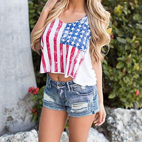 GNYD Damen Oberteile Summer elegant Amerikanische Flagge