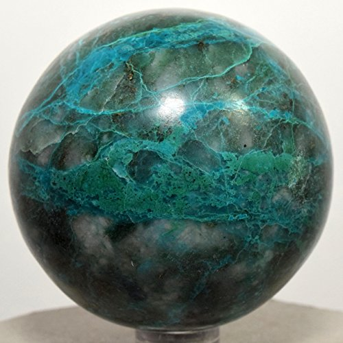 59mm Deep Blue Green Chrysocolla Sphere w/ Malachite Natural Chalcedony Mineral Polished Ball Sparkling Crystal Gemstone - Peru + Plastic Stand by HQRP-Crystal