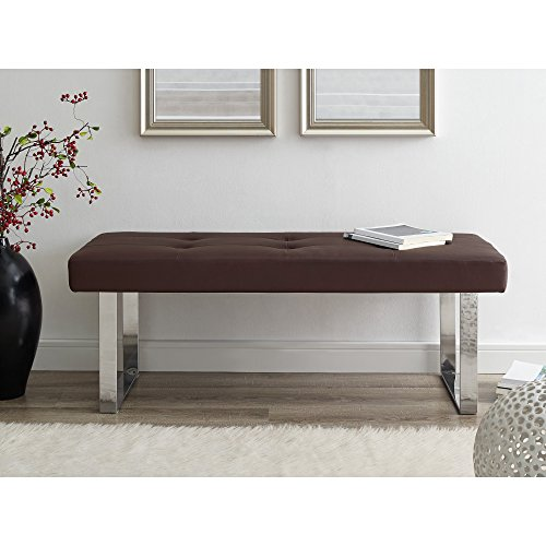 Oliver Brown PU Leather Bench - Stainless Steel Legs | Tufted | Living-Room, Entryway, Bedroom | Inspired Home