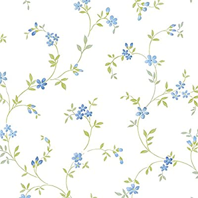 Manhattan Comfort NWKE29908 Chesapeake Floral Trail Textured Wallpaper, Blue