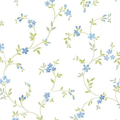 Blue Garden Wallpaper - Manhattan Comfort NWKE29908 Chesapeake Floral Trail Textured Wallpaper, Blue