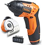 VonHaus 2 in 1 Cordless Electric Screwdriver with Multi Cutter Attachment for Cardboard, Carpet, Crafts and Fabric - Rechargeable, LED Light with 3-Position Handle and 5 Screwdriver Bit Set
