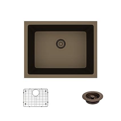 René By Elkay R3 1004 Umber Single Bowl Undermount Composite Granite Sink,  Grid