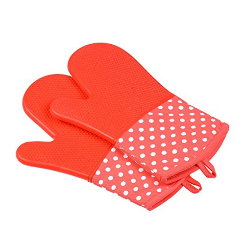 Kitchen gloves Silicone Oven Mitts Heat Resistant 1 Pair Of Non-Slip Kitchen Oven Gloves Household Supplies Gloves (Color : -