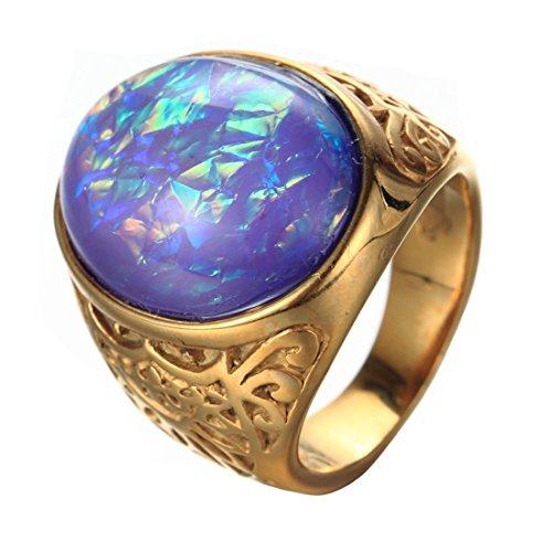 Cat Gemstone Ring - Oakky Jewelry Men's Women's Stainless Steel Oval Gemstone Gold Plated Rings, Purple Size 10