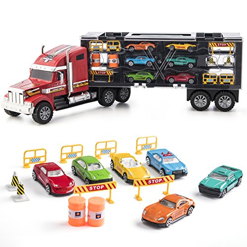 Prextex 24'' Detachable Carrier Truck Toy Car Transporter with Rubber Wheels & 6 Toy Cars Toys for Boys & Girls Red and - Car Carrier Toy