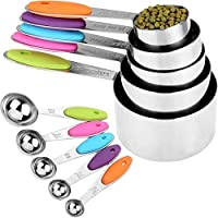 Stackable Measuring Cups & Spoons Set - 5 Cups + 5 Spoons - Stainless Steel & Non-Slip Silicone Drip - for Dry & Wet...