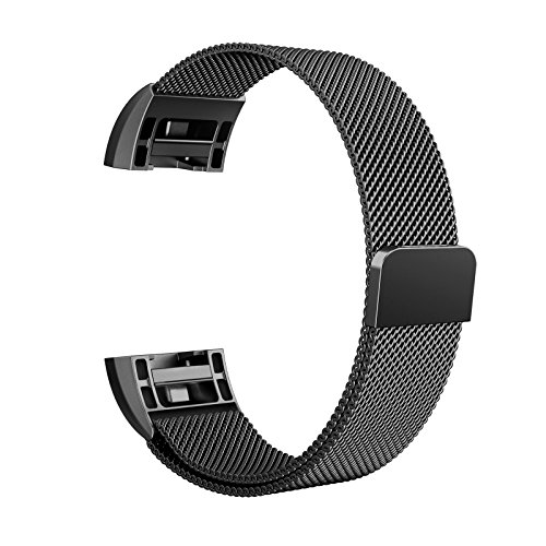"Fitbit Charge 2 Bands Metal Small & Large (5.5"" 9.9""), Swees Milanese Stainless Steel Magnetic Replacement Wristband for Fitbit Charge 2 Women Men, Silver, Champagne, Rose Gold, Black, Colorful"