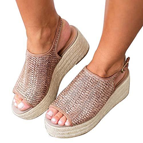 Athlefit Women's Espadrille Wedge Sandals Braided Jute Ankle Buckle Platform Summer Sandals Size 8 Jute-Oatmeal