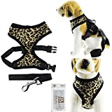 Bolbove Adjustable Plush Leopard Print Harness and Leash Set for Cats & Dogs (Leopard Print, X-Small)