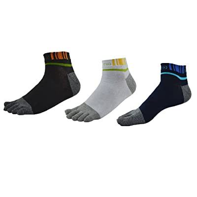 3 Pairs Men Cotton Five Fingers Socks Breathable Sweat-wicking Soft Full Toe