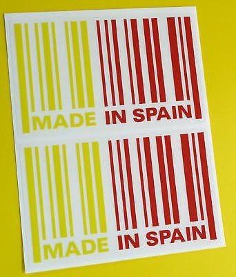 HECHO EN España bandera código de barras etiqueta adhesiva x2 SEAT ...