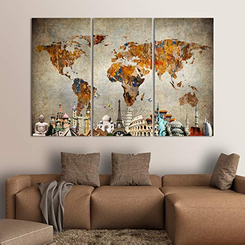Grunge World Map Monuments Canvas Wall Art - Ready to Hang - Large Wonders of the World Artwork Hanging Print for Home Office, Living Room, Bedroom, Kitchen, Bathroom - Made in USA - 3 Panel 77