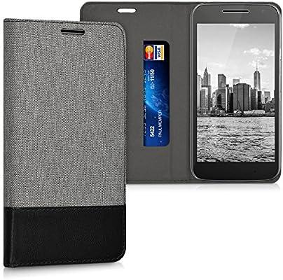 kwmobile Funda para Motorola Moto G4 Play - Carcasa de [Tela] y [Cuero sintético] - Case con [Soporte] en [Gris/Negro]