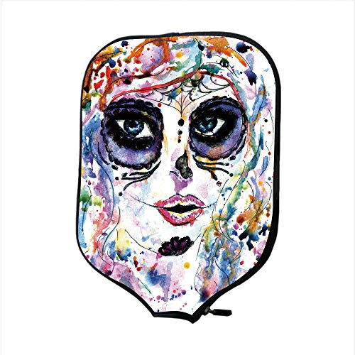 Neoprene Pickleball Paddle Racket Cover Case,Sugar Skull Decor,Halloween Girl with Sugar Skull Makeup Watercolor Painting Style Creepy Decorative,Multicolor,Fit for Most Rackets - Protect Your Paddle]()