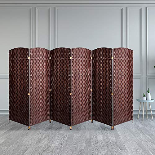 Aoxun 6 ft. Tall Weave Fiber Room,Double Hinged,Divider 6 Panel& Folding Privacy Screens(Brown, 6 Panel)